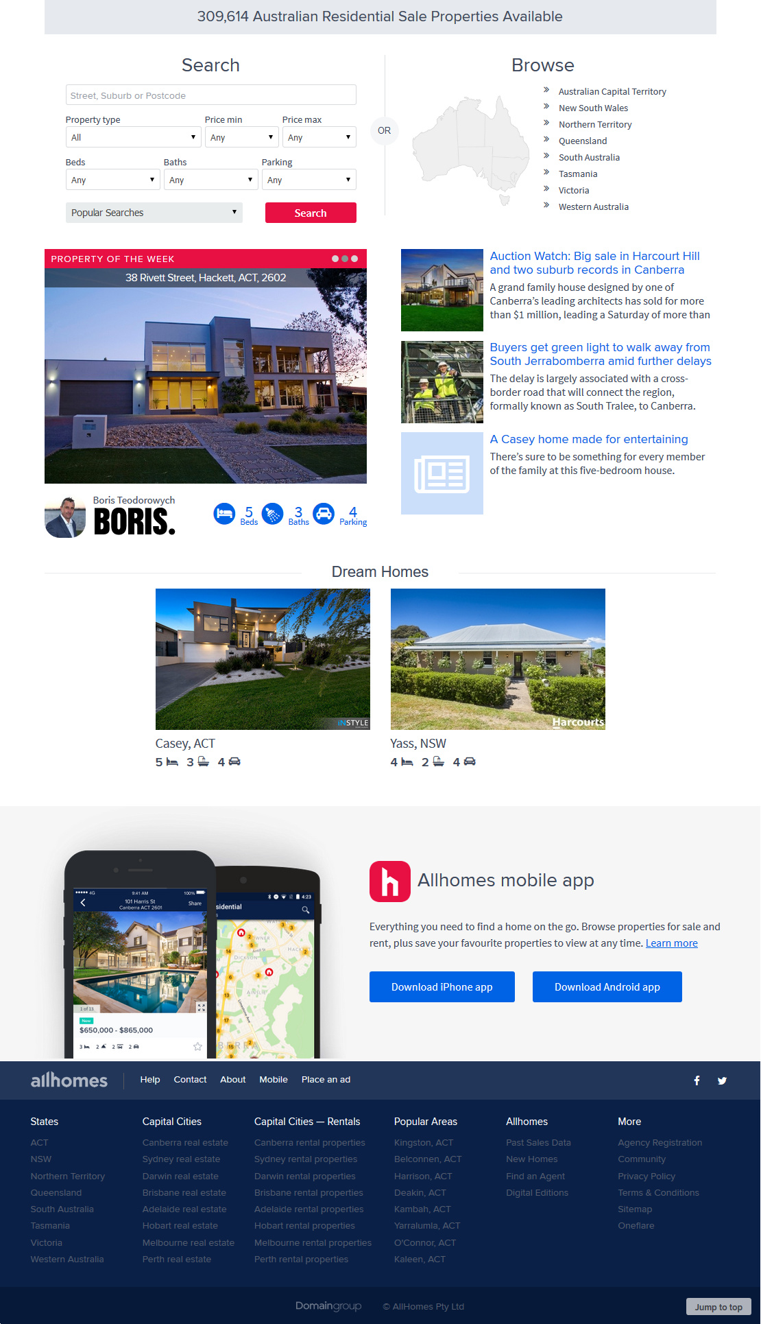 screenshot of allhomes.com.au